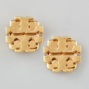 Tory Burch Logo Stud Earrings T Logo Gold New